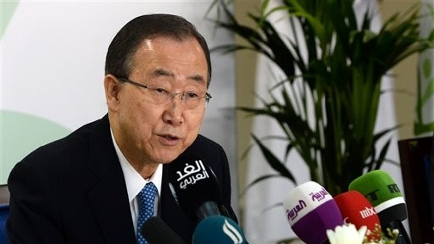 United Nations Secretary-General Ban Ki-moon speaks at a press conference ahead of the launch of the UN's report on humanitarian financing, in Dubai,  United Arab Emirates, Sunday, Jan 17, 2016. (AP Photo/Martin Dokoupil)