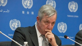 The United Nations Assistant Secretary-General for Field Suport Anthony Banbury briefed the press at UN Headquarters in New York City, NY, USA, detailing recent sexual exploitation and abuse allegations made against UN peacekeeping personnel and explaining the measures the UN will implement in order to ensure heightened transparency in the allegation review process, on January 29, 2016. (Photo by Albin Lohr-Jones) *** Please Use Credit from Credit Field ***