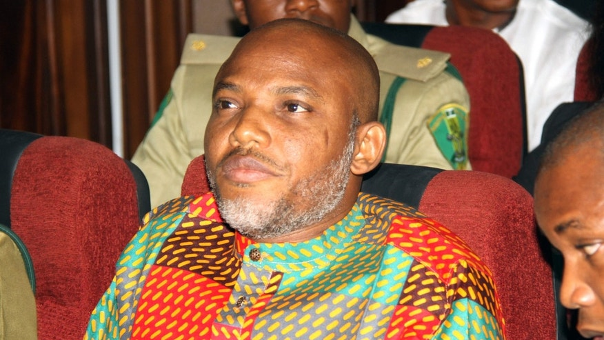 Jan. 29, 2016: Biafran separatist leader Nnamdi Kanu attends a court hearing at the Federal High court in Abuja, Nigeria