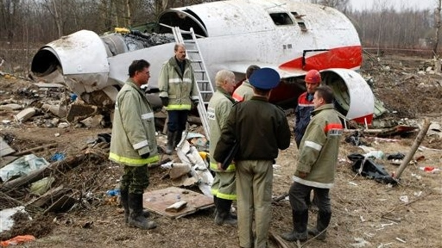 The site of the plane crash that killed Polish President Lech Kaczynski in April 2010.