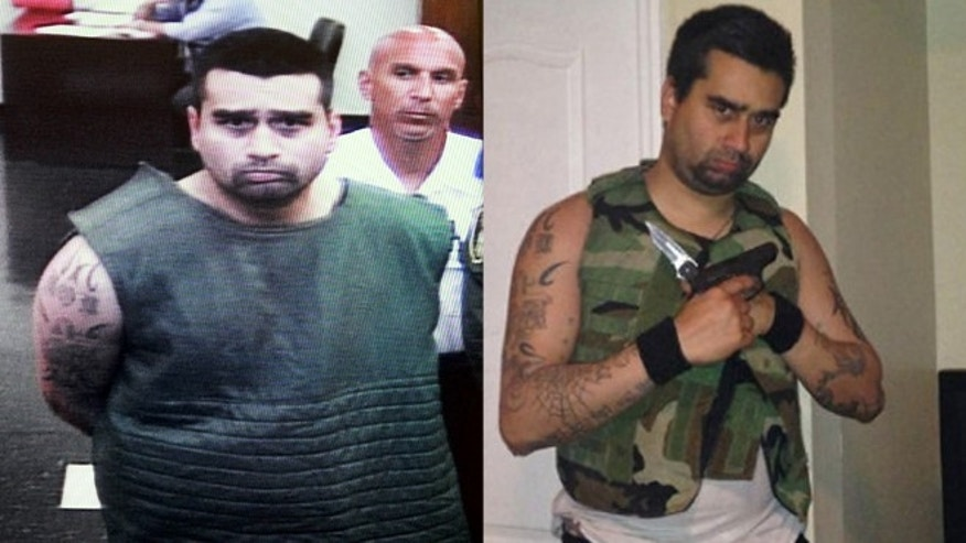 Derek Medina (pictured left) appears on closed circuit television in a special suicide watch gown before a Miami Dade County Judge. Derek in a Facebook photo holding weapons (right.)