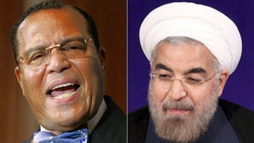 Louis Farrakhan (l.)and Iranian President Hassan Rouhani reportedly will speak at an upcoming drone rally.