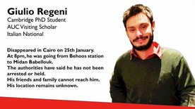 FILE - This file image posted online after the Jan. 25, 2016 disappearance of Italian graduate student Giulio Regeni in Cairo, Egypt shows Reggeni in a graphic used in an online campaign, #whereisgiulio seeking information on his whereabouts.  Egypt has denied the police had anything to do with the brutal killing of an Italian student whose body was found on the outskirts of Cairo bearing signs of torture. (#wheresgiulio via AP)