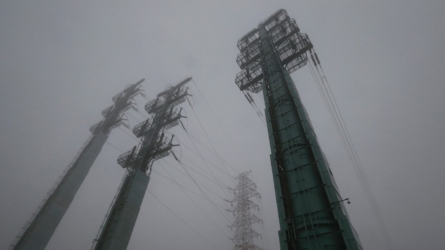 Transmission towers supplying power to the Kaesong Industrial Complex from South Korea are seen after South Korea cut off power.