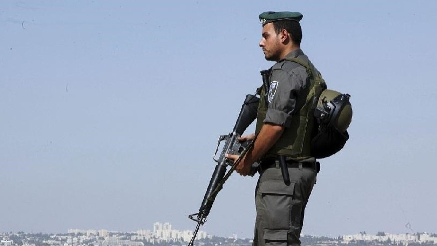 An Israeli border policeman in October.