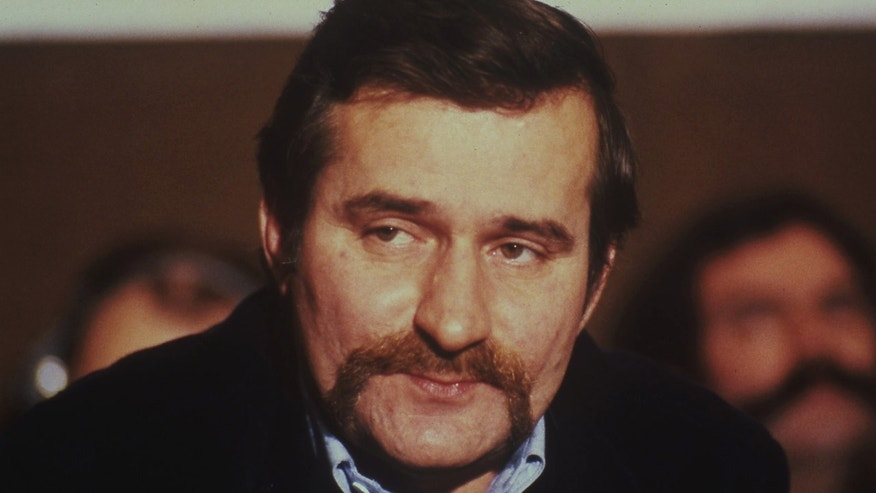 The 1981 file photo shows Lech Walesa, leader of the forbidden 'Solidarity Movement' in Poland (AP)