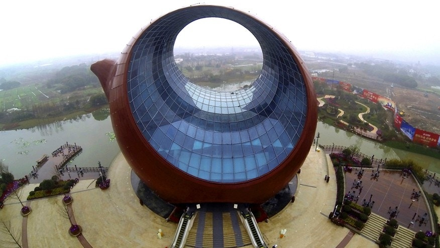 March 4, 2014: An aerial view of a building shaped like a clay teapot is seen in Wuxi, Jiangsu province.