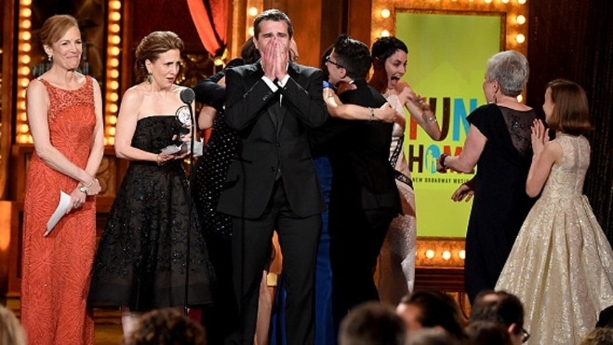 """Fun Home"" accept the award for Best Musical during the 2015 Tony Awards at Radio City Music Hall."