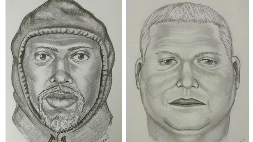 These are composite sketchs by investigators of one of the suspects involved in a heist of gold bars worth millions of dollars, which were stolen from a truck on a North Carolina interstate highway on March 1, 2015. Agents identified the alleged ringleader as Adalberto Perez, who was arrested this week and held without bail Friday, March 4, 2016, on federal robbery and weapons charges. Two accomplices, one depicted here, remain at large. (AP Photo/Wilson County Sheriff's Office, File)