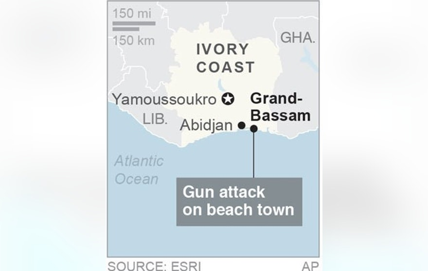 Map locates Grand-Bassam, Ivory Coast, where gunfire has been reported; 1c x 2 inches; 46.5 mm x 50 mm;