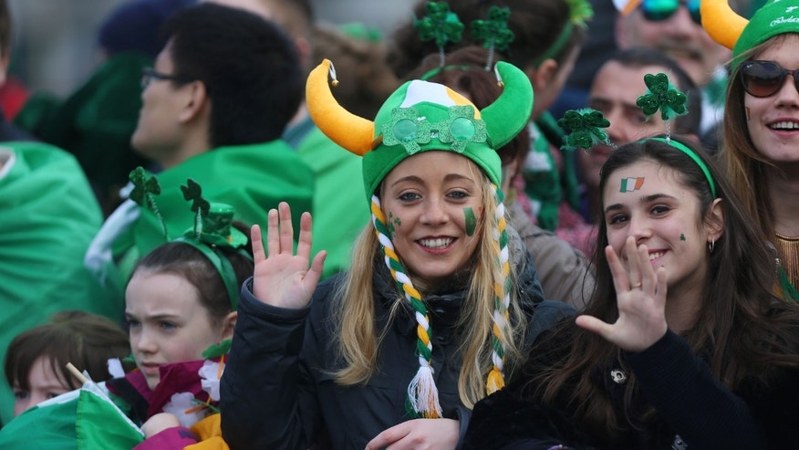 A crowd at the St. Patrick's Day parade in Dublin.