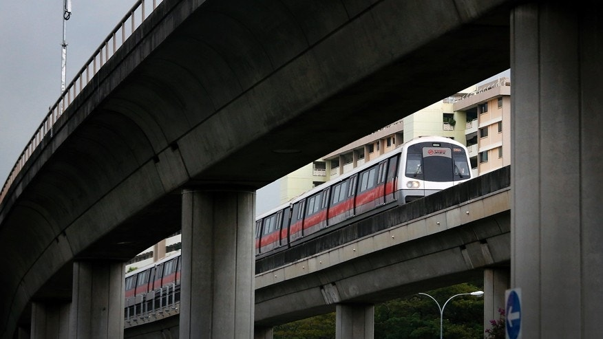 March 22, 2016: A train runs on an overhead track in Singapore.