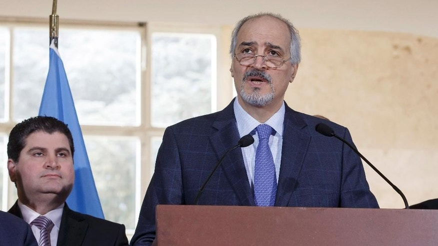 Bashar al-Jaafari, Syrian chief negotiator and Ambassador of the Permanent Representative Mission of the Syria to UN New York, briefs to the media after a round of negotiations between the Syrian government and UN Special Envoy of the Secretary-General for Syria Staffan de Mistura, at the European headquarters of the United Nations in Geneva, Switzerland,Wednesday  March 23, 2016.  (Salvatore Di Nolfi/Keystone via AP)