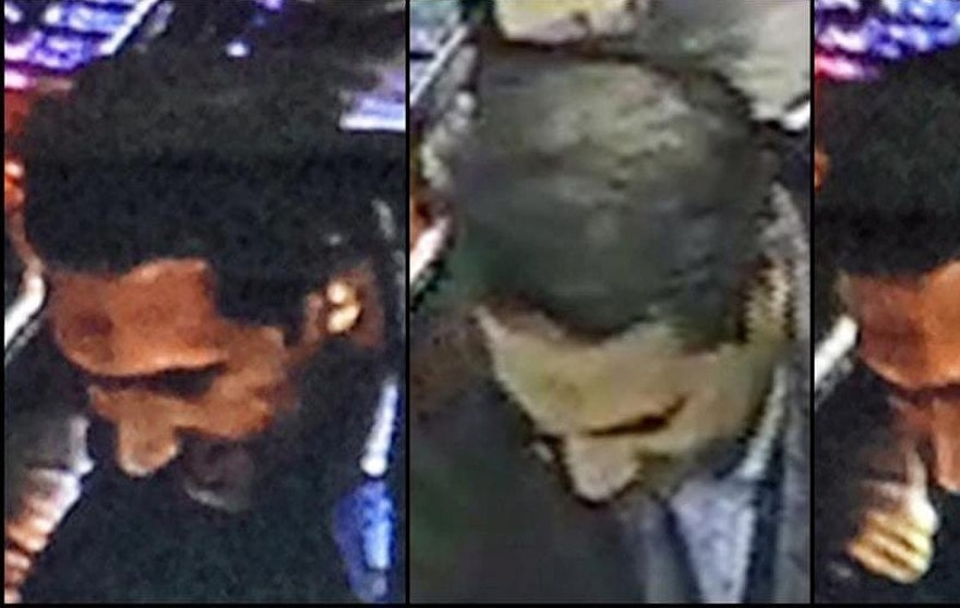 In this image provided by the Belgian Federal Police on Monday, March 21, 2016, a combo photograph shows Najim Laachraoui, who was previously identified in a false passport as Soufiane Kayal by Belgium Federal Police, during a money transfer on Nov. 17, 2015 in a Western Union bank in the Brussels region of Belgium. Federal police state that Najim Laachraoui was also seen on Sept. 9 , 2015 at the Hungarian-Austrian border with Samir Bouzid and fugitive Salah Abdeslam, one of the suspects of the Paris terrorist attacks. (Belgian Federal Police via AP)