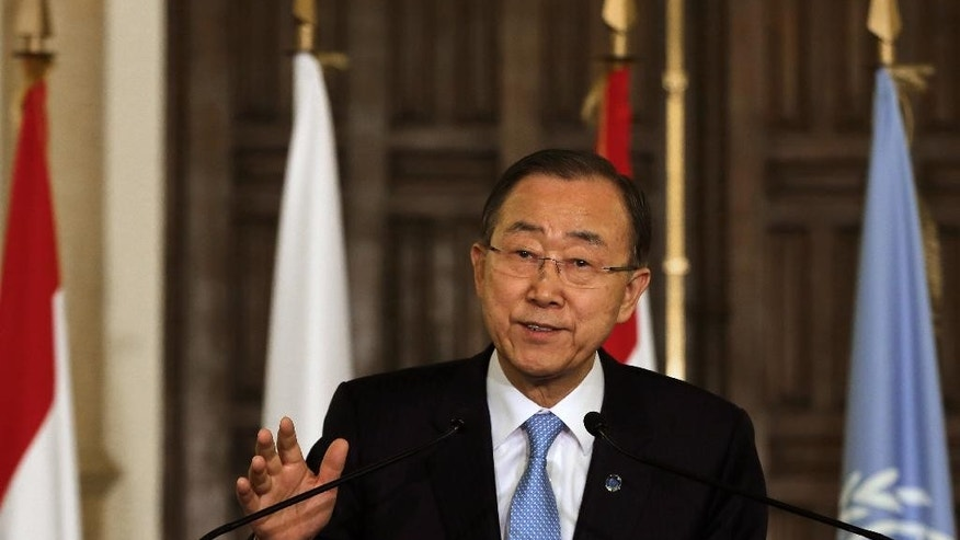 United Nations Secretary-General Ban Ki-moon, speaks during a joint press conference with World Bank President Jim Yong Kim, Islamic Development Bank President Ahmad Mohamed Ali Al-Madani, and Lebanese Prime Minister Tammam Salam, at the Government House in Beirut, Lebanon, Thursday, March 24, 2016. The international community pledged to help Lebanon Thursday with more than a billion dollars of aid to help the tiny Arab country cope with large numbers of Syrian refugees who were displaced by their country's civil war. (AP Photo/Bilal Hussein)