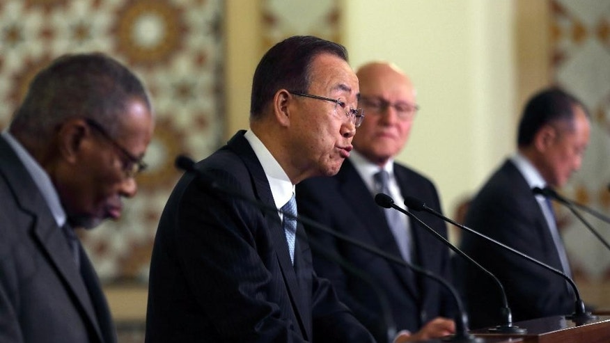United Nations Secretary-General Ban Ki-moon, second left, speaks during a joint press conference with Lebanese Prime Minister Tammam Salam, second right, World Bank President Jim Yong Kim, right, and Islamic Development Bank President Ahmad Mohamed Ali Al-Madani, left, at the Government House in Beirut, Lebanon, Thursday, March 24, 2016. The international community pledged to help Lebanon Thursday with more than a billion dollars of aid to help the tiny Arab country cope with large number of Syrian refugees who were displaced by their country's civil war. (AP Photo/Bilal Hussein)