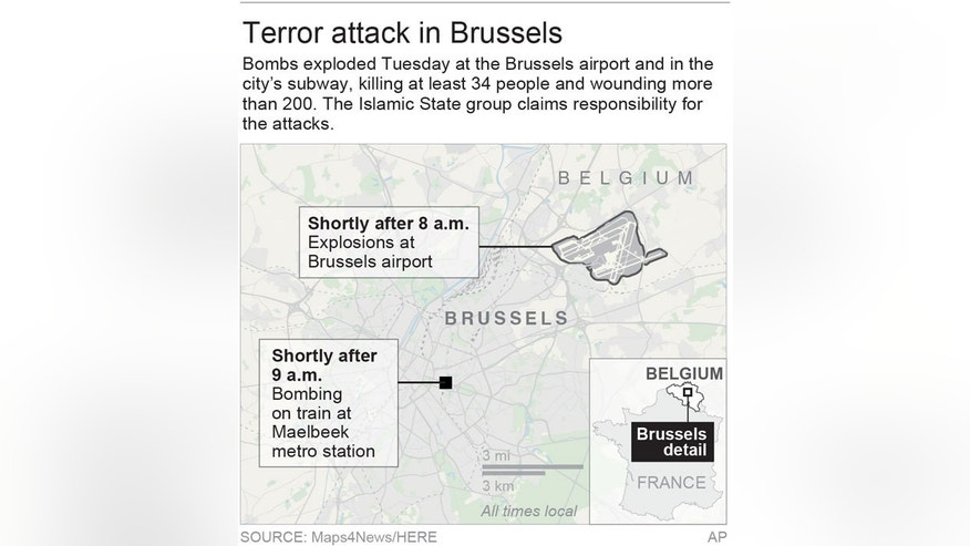 Map locates Brussels airport and Maelbeek metro station the locations of deadly terrorist bombings; 2c x 3 1/2 inches; 96.3 mm x 88 mm;