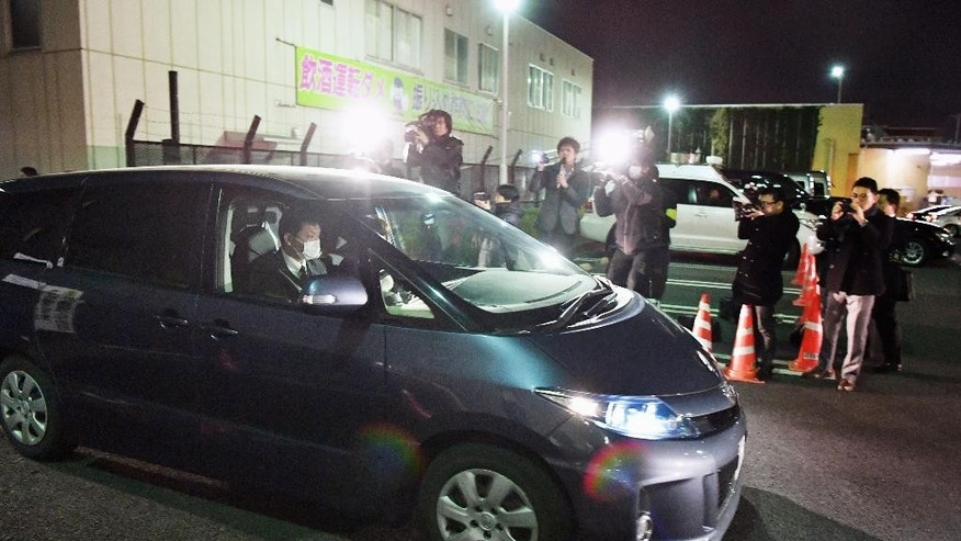 March 27, 2016: A police car carrying a girl who had been abducted, leaves the police headquarters in Niiza, Saitama prefecture, near Tokyo.