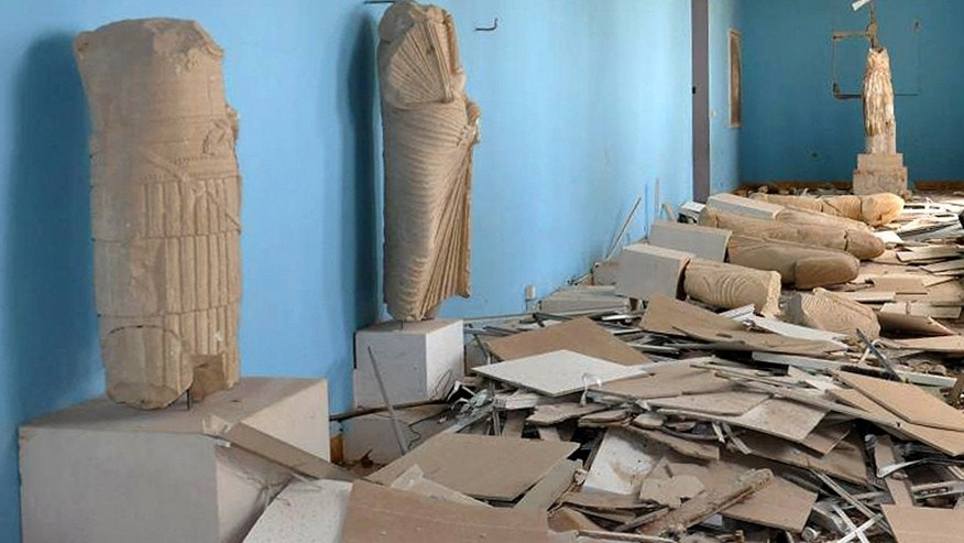 March 27, 2016: Destroyed statues at the damaged Palmyra Museum, in Palmyra city, central Syria.