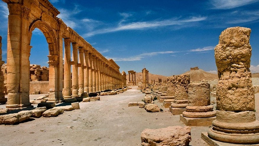 In this undated photo released by the Syrian official news agency SANA, shows the site of the ancient city of Palmyra, Syria. Palmyra is an archaeological gem that Syrian troops took back from Islamic State fighters on March 27, 2016.