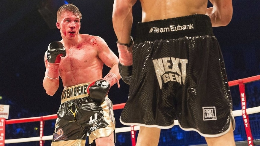 Nick Blackwell, left, during the fight against Chris Eubank, Jr.