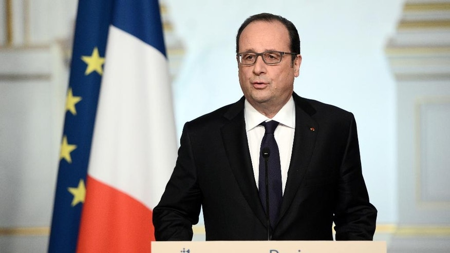 French President Francois Hollande delivers a speech after the weekly cabinet meeting, Wednesday, March 30, 2016 in Paris. Hollande has decided to abandon a bill that would have revoked citizenship for convicted terrorists and strengthened the country's state of emergency. He had initially submitted the two proposals days after the Nov. 13 attacks in Paris that left 130 people dead. (Stephane de Sakutin, Pool via AP)