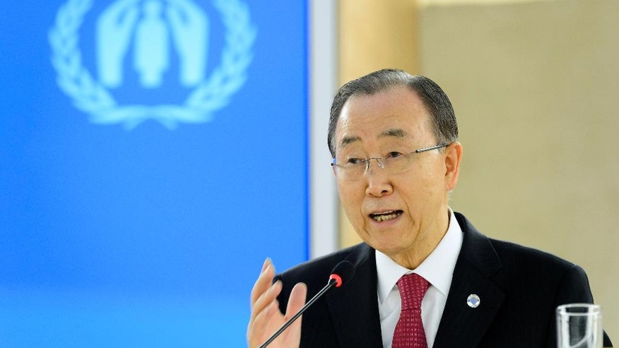 "United Nations Secretary General Ban Ki-moon delivers a speech during a one-day conference meant to further efforts to resettle Syrian refugees at the United Nations in Geneva, Switzerland, Wednesday, March 30, 2016. Ban Ki-moon is urging governments around the globe to let in more people from Syria and ""counter fearmongering"" about refugees. (Martial Trezzini/Keystone via AP)"