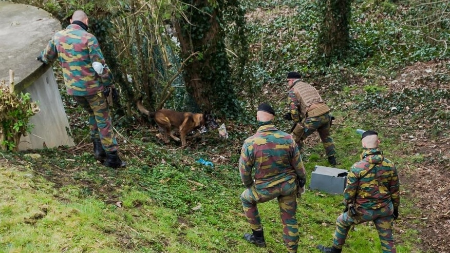 Soldiers search a wooded area in Marke, Belgium, Thursday, March 31, 2016. Authorities are searching a wooded, residential area close to the French border amid reports that the action is linked to the recent arrest of a man in Paris suspected of planning an attack. (AP Photo/Geert Vanden Wijngaert)