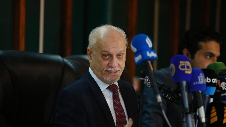 Iraqi Minister of Higher Education and Scientific Research, Hussain al-Shahristani, who previously served as oil minister and deputy prime minister in charge of energy, speaks at a press conference in Baghdad, Iraq, Saturday, April 2, 2016. Iraq's prime minister on Saturday ordered an investigation into corruption allegations against senior oil officials including al-Shahristani following an expose into bribe-taking published in international media outlets. Al-Shahristani denied he had been involved in any wrongdoing. (AP Photo/Karim Kadim)