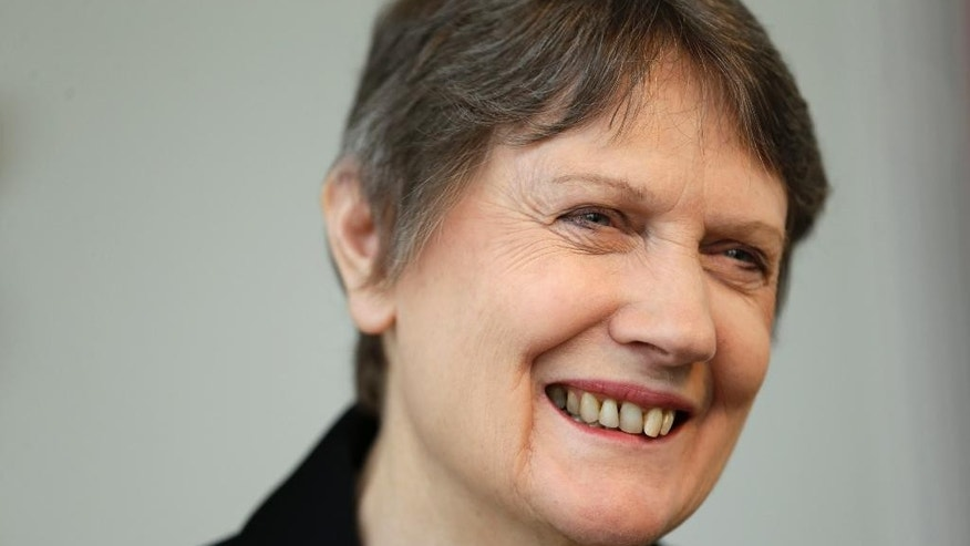 Helen Clark, the former Prime Minister of New Zealand and senior United Nations official, speaks during an interview in New York, Monday, April 4, 2016. Clark has announced she is running for the top position at the U.N. with the backing of the New Zealand government. (AP Photo/Seth Wenig)