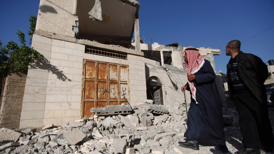 Ahmad Zakarneh's West Bank home after the Israeli army demolished it.