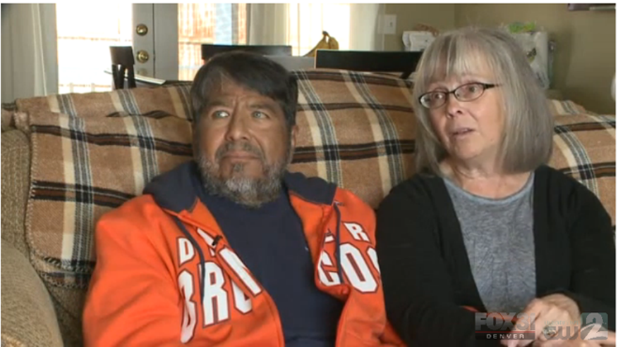 Al (left) and his wife Phyllis Velasquez (right) sit for an interview at their home in Littleton, Colorado. The couple, now facing Al's kidney failure, are no strangers to tragedy. Their son Kyle was a victim in the 1999 Columbine High School shooting.