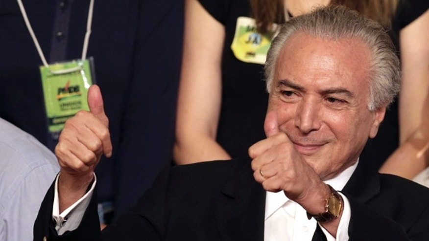 Brazil's VP Michel Temer during the Brazilian Democratic Movement Party, national convention in Brasilia, Brazil.