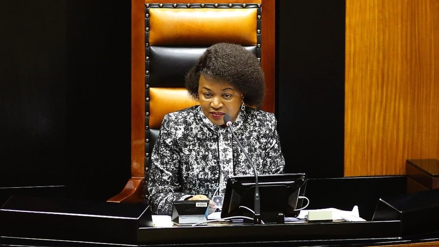 South Africa speaker of parliament Baleka Mbete, looks on during a session in parliament in Cape Town, South Africa, Tuesday, April 5,  2016. A South African parliamentary debate over whether to remove President Jacob Zuma was delayed Tuesday after opposition lawmakers alleged that the parliament speaker Baleka Mbete, a Zuma ally, could not preside over the session because of alleged partiality.  (AP Photo/Schalk van Zuydam)