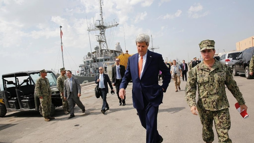 Secretary of State John Kerry tours the Naval Support Activity Bahrain base in the Gulf, in Manama, Bahrain, Thursday, April 7, 2016.  (Jonathan Ernst/Pool Photo via AP)