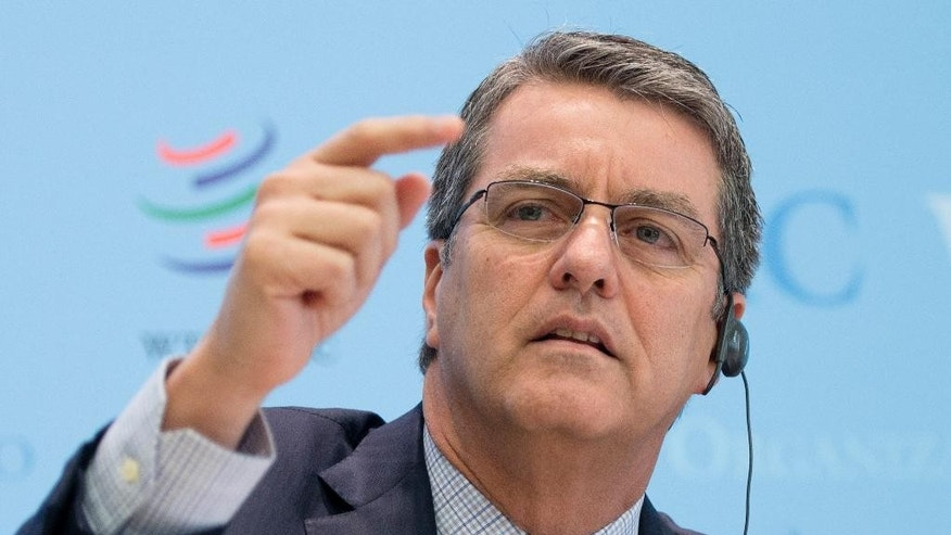 World Trade Organization, WTO, Director General Roberto Azevedo speaks during a press briefing on 2016 global trade forecast at the WTO headquarters in Geneva, Switzerland, Thursday, April 7, 2016. (Martial Trezzini/Keystone via AP)