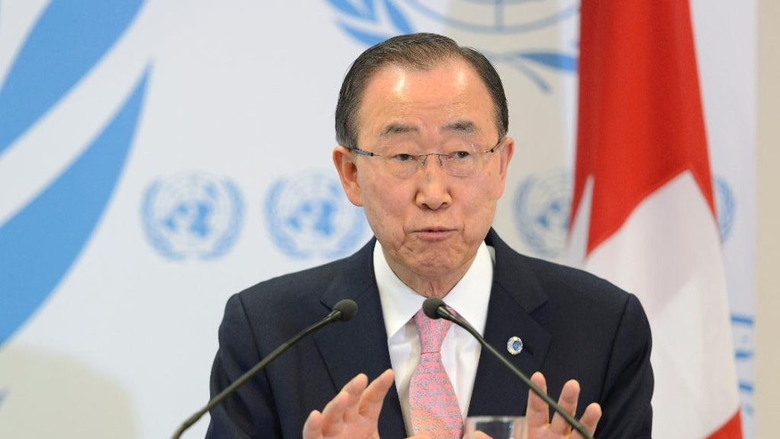 United Nations Secretary General Ban Ki-moon addresses a news conference after the Geneva Conference on Preventing Violent Extremism at the European headquarters of the United Nations in Geneva, Switzerland, Friday, April 8, 2016. (Martial Trezzini/Keystone via AP)