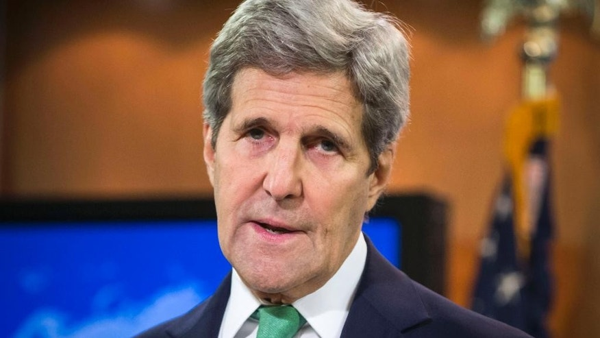 FILE - In this March 17, 2016, file photo, U.S. Secretary of State John Kerry speaks to reporters at the State Department in Washington. Kerry will become the highest-ranking American government official to visit Hiroshima, where 140,000 Japanese died from the first of two atomic bombs dropped by his country in the closing days of World War II more than 70 years ago. Kerry and the other Group of Seven foreign ministers are scheduled to visit the Hiroshima Peace Park on Monday, April 11, 2016 and lay flowers to honor the dead. At least in Japan, the event will likely overshadow the rest of the foreign ministers' annual two-day meeting, where terrorism, maritime security and nuclear non-proliferation will be discussed. (AP Photo/J. Scott Applewhite, File)