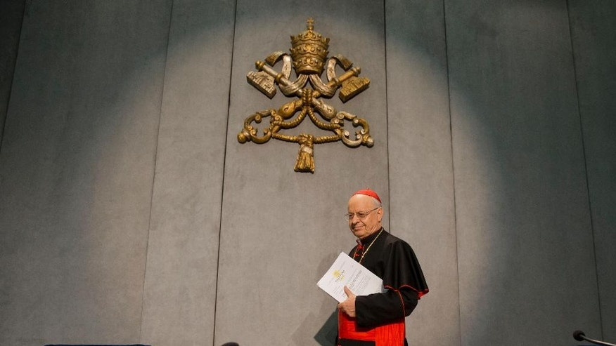 """Cardinal Lorenzo Baldisseri arrives for a press conference to present the post-synodal apostolic exhortation ' Amoris Laetitia ' (The Joy of Love), at the Vatican, Friday, April 8, 2016. Pope Francis has insisted that individual conscience be the guiding principle for Catholics negotiating the complexities of sex, marriage and family life in a major document released Friday that repudiates the centrality of black and white rules for the faithful. In the 256-page document """"The Joy of Love,"""" released Friday, Francis makes no change in church doctrine. (AP Photo/Andrew Medichini)"""