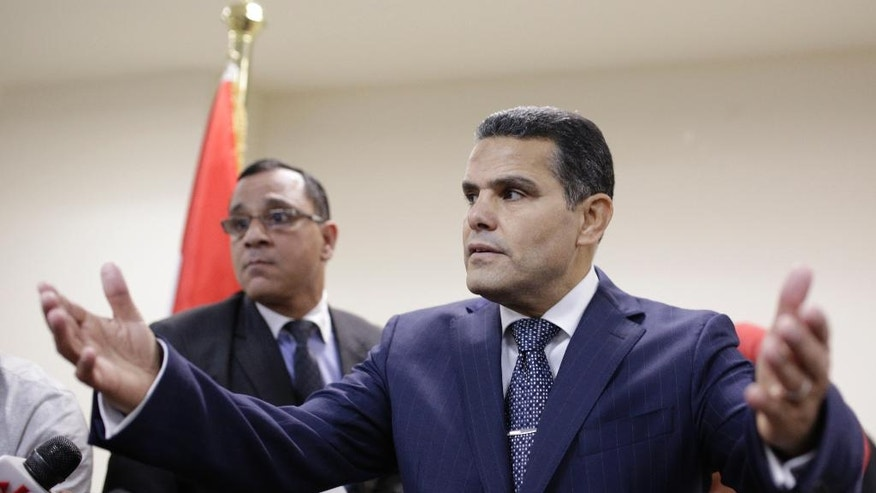 Egypt's Deputy Public Prosecutor  Mustafa Suleiman, the head of an Egyptian delegation that was in Rome last week, speaks during a press conference on slain Italian graduate student Giulio Regeni, at the Prosecutor general's office, in Cairo, Egypt, Saturday, April 9, 2016. (AP Photo/Amr Nabil)