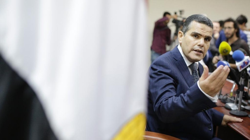 Egypt's Deputy Public Prosecutor  Mustafa Suleiman, the head of an Egyptian delegation that was in Rome last week, speaks during a press conference on slain Italian graduate student Giulio Regeni, at the prosecutor general office,  in Cairo, Egypt, Saturday, April 9, 2016. (AP Photo/Amr Nabil)