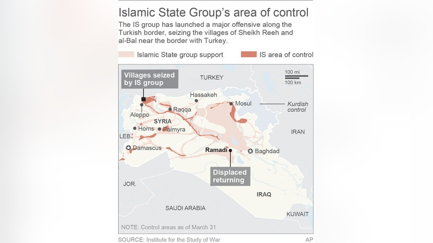 Map locates the Islamic State group's area of support and control in Syria and Iraq; 2c x 4 inches; 96.3 mm x 101 mm;