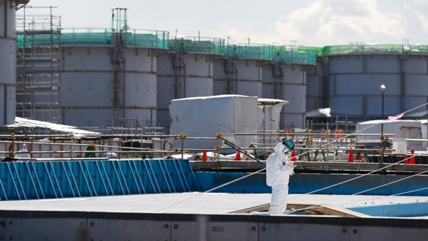 FILE 2016: A worker, wearing protective suits and masks, takes notes in front of storage tanks for radioactive water at the tsunami-crippled Fukushima Dai-ichi nuclear power plant, operated by Tokyo Electric Power Co. (TEPCO), in Okuma, Fukushima Prefecture, northeastern Japan.