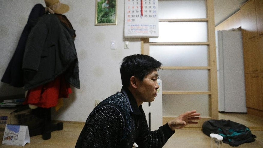 In this Feb. 3, 2016 photo, North Korean defector Lee Yong-ho, who often worked 12-14 hours per day as a truck driver at the Russian camp, speaks during an interview at his house in Geumchon, South Korea. Four North Koreans who were sent to work abroad confirm many of the brutal conditions rights groups have decried, but also say their lives were better than they had been back home. (AP Photo/Ahn Young-joon)