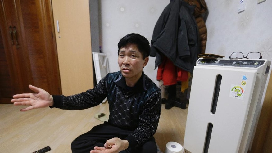 In this Feb. 3, 2016, North Korean defector Lee Yong-ho, who often worked 12-14 hours per day as a truck driver at the Russian camp, speaks during an interview at his house in Geumchon, South Korea. Four North Koreans who were sent to work abroad confirm many of the brutal conditions rights groups have decried, but also say their lives were better than they had been back home. (AP Photo/Ahn Young-joon)