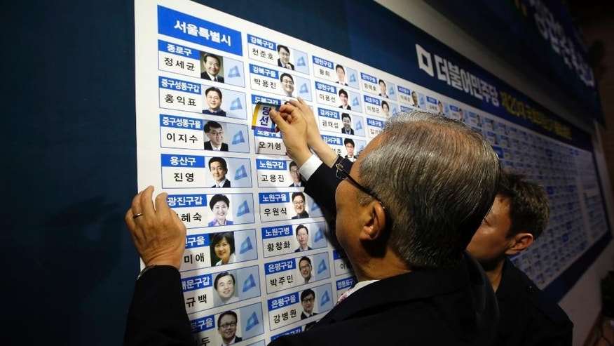 Kim Chong In, a chairman of the main opposition party, the Minjoo Party of Korea, places a sticker onto one of the party's winning candidates' photographs for parliamentary election in Seoul, South Korea, Wednesday, April 13, 2016.  South Koreans voted in parliamentary elections Wednesday that were expected to hand a decisive win to President Park Geun-hye's conservative party, and enable her to push ahead with controversial economic reforms. Exit polls, however, indicated her party would not regain its majority in the National Assembly. (AP Photo/Lee Jin-man,Pool)