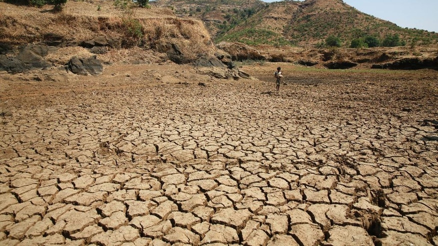 In this April 12, 2016 photo, a dried up pond is seen in Talagoan, 145 kilometres (90 miles) north-east of Mumbai, India. Another year of severe drought has left hundreds of millions reeling in at least 13 Indian states, and experts predict the situation will only worsen as summer stretches on. (AP Photo/Rafiq Maqbool)