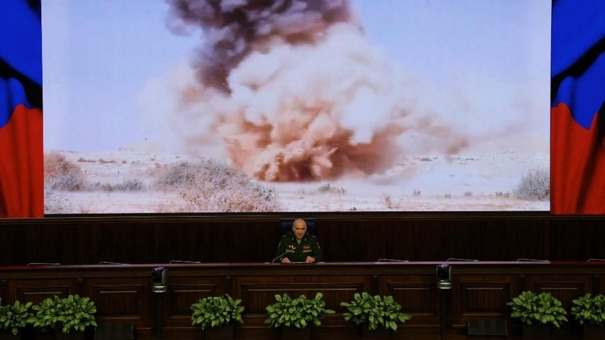 Lt. Gen. Sergei Rudskoi of the Russian military's General Staff speaks at a briefing in Moscow, Russia, on Monday, April 11, 2016. The Russian military says it is helping the Syrian army fight the al-Qaida-affiliated Nusra Front around Aleppo, but has no plan to storm the city. (AP Photo/Ivan Sekretarev)