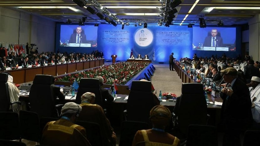 Turkey's President Recep Tayyip Erdogan, rear center, addresses the leaders and representatives of the Islamic countries during the second day of the 13th Organization of Islamic Cooperation, OIC, Summit in Istanbul, Friday, April 15, 2016. Muslim nations have agreed to establish a joint body based in Istanbul to fight terrorism. (Anadolu Agency/Pool via AP)