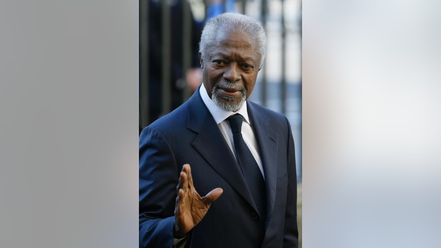 "FILE - In this Monday, March 14, 2016 file photo, Kofi Annan, former Secretary-General of the United Nations, arrives to attend the Commonwealth Day service at Westminster Abbey in London. Former U.N. Secretary General Kofi Annan said Sunday, April 17, 2016 that the situation in Burundi is ""very delicate"" and blamed President Pierre Nkurunziza for the crisis and not cooperating with the international community to resolve the conflict. (AP Photo/Kirsty Wigglesworth, File)"